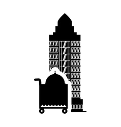 Plate menu hotel building silhouette design vector