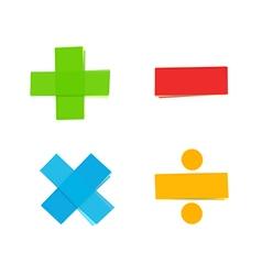 plus minus multiply divide mathematical symbols vector image