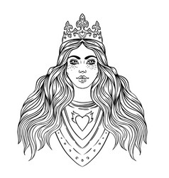 Portrait beautiful girl with a crown female vector