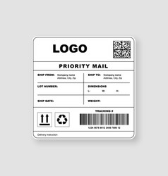 Realistic shipping label priority mail template vector