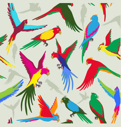 seamless pattern with colorful parrot of jungle vector image