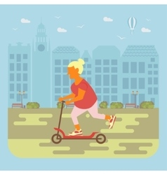 Senior woman cycling vector