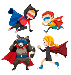 set different super heros vector image