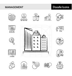 Set of 17 management hand-drawn icon set vector