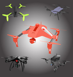 set of cartoon drones isometric vector image