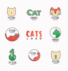 Set of colorful logotypes with cats for vet clinic vector