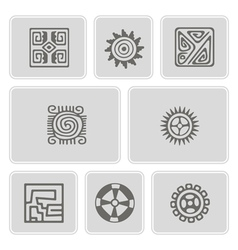 Set of monochrome icons with American Indians art vector