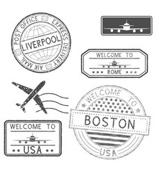 Set of tourist and postal stamps vector