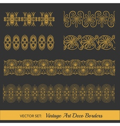 Set of Vintage Borders - in Art Deco Style vector image
