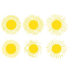 set suns solar symbols vector image