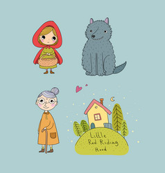 Set with little red riding hood fairy tale vector