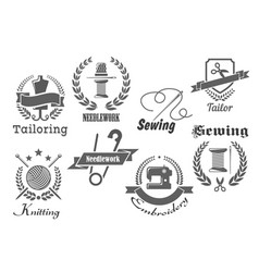 Sewing embroidery and tailoring icons vector