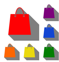 shopping bag set of red orange vector image