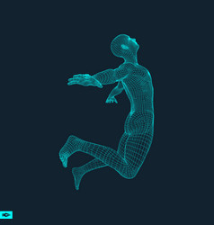 Silhouette of a jumping man 3d model of man vector