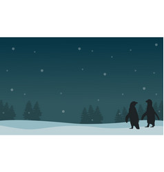 silhouette of snow qith penguin scenery vector image