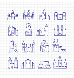 Sketch medieval castles set on lined page vector