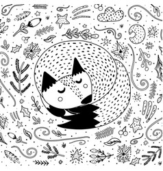 sleeping fox coloring page for adults and kids vector image