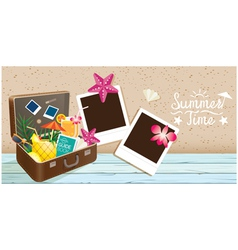 Suitcase and Summer Objects with Frame vector image