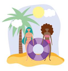summer people activities girls in bikini vector image