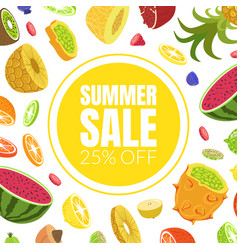 summer sale banner template with fresh delicious vector image