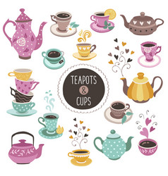 Teapots and cups collection vector