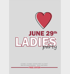 Template for ladies night party with line sign - vector