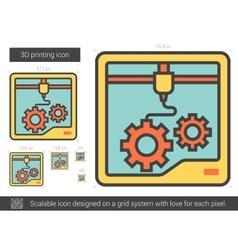 Three D printing line icon vector