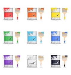 Tin Of Paint With Brush vector image
