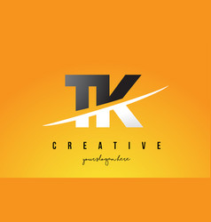 tk t k letter modern logo design with yellow vector image