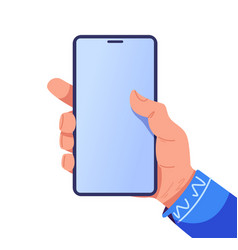 touching phone phone in hand finger clicks on vector image