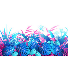 Tropical plants colorful seamless border vector