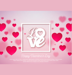 valentines day design with red heart and love vector image