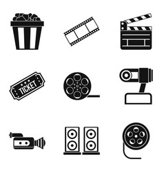 video clip icons set simple style vector image