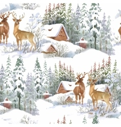 Watercolor winter forest landscape vector