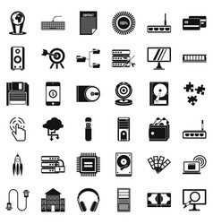 Web growth icons set simple style vector