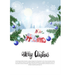 Winter forest landscape christmas holiday vector