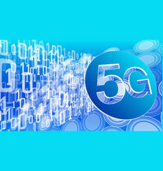 wireless network 5g abstract binary code digits vector image