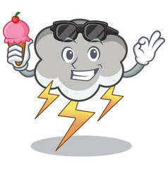 with ice cream thunder cloud character cartoon vector image