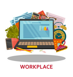 Workplace concept in flat style modern design for vector