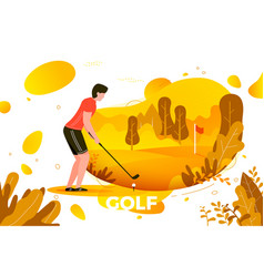 young sporty man playing golf vector image