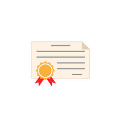 certificate diploma flat icon education school vector image