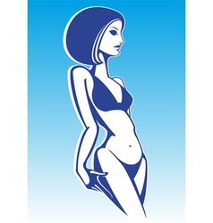 girl in a swimsuit vector image
