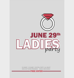 template for ladies night party with line sign - vector image