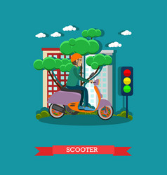 young man riding scooter in vector image