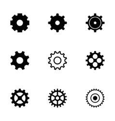 black gear icons set vector image vector image