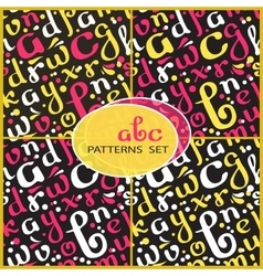Seamless patterns set with handwritten alphabet vector image