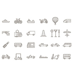 Transport black icons set vector image vector image