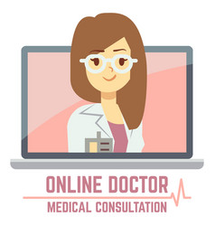 woman online doctor consultation concept design vector image vector image