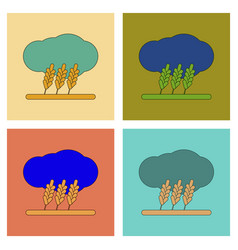 assembly flat icons wheat cloud vector image