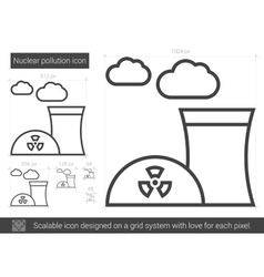 Nuclear pollution line icon vector image vector image